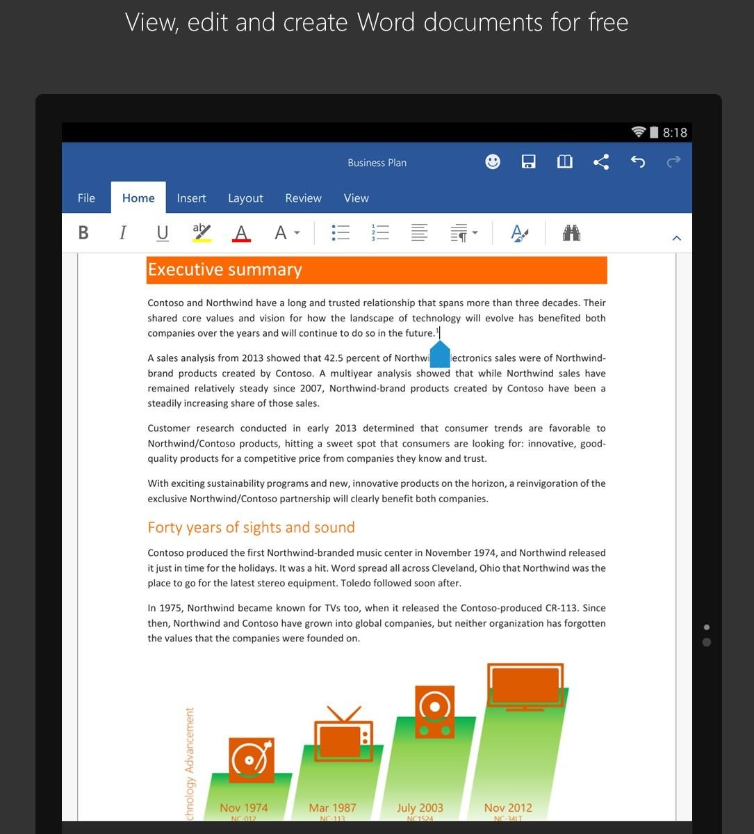 microsoft word powerpoint excel launched for android tablets with
